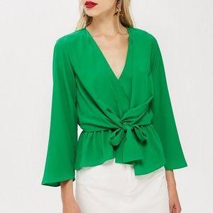 TOPSHOP Emerald Green Wrap Surplice Bow Top